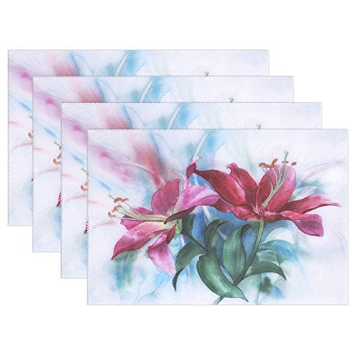 DNOVING Watercolour Lilies Paint Greeting Card Greeting Placemats Set Of 4 Heat Insulation Stain Resistant For Dining Table Durable Non-slip Kitchen Table Place Mats