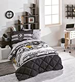 Football/Soccer Bedding Set, 100% Cotton Boys Bedding Comforter Set, Single/Twin Size, Black White