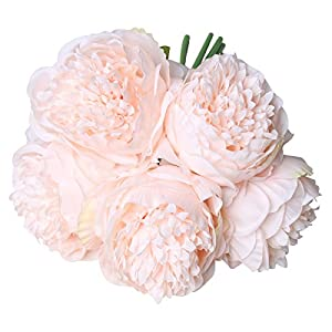 StarLifey Fake Flower Bouquet Vintage Artificial Peony Bunch for Home,Wedding Decoration (Light pink) 1