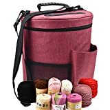 Large Capacity/Portable/Lightweight Yarn Storage Knitting Tote Organizer Bag with Shouler Strap Handles Looen Yarn Containers W/Pockets for Crochet Hooks & Knitting Needles Kit (Wine Red, 12.7X10.8)