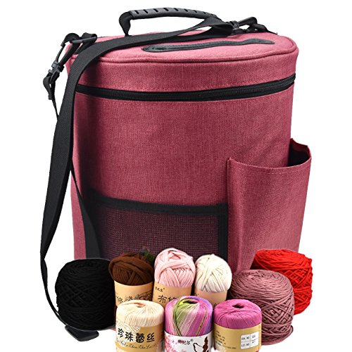 Large Capacity/Portable/Lightweight Yarn Storage Knitting Tote Organizer Bag with Shouler Strap Handles Looen Yarn Containers W/Pockets for Crochet Hooks & Knitting Needles Kit (Wine Red, 12.7X10.8) by LOOEN