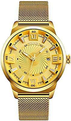 Amazon.com: SKMEI 9166 Pointer And Calendar Display 30M Waterproof Stainless Steel Quartz Watch For Mens (Gold): Beauty