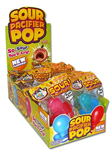 Flix Candy Sour Pacifiers, 1-Count Lollipops (Pack of 12)