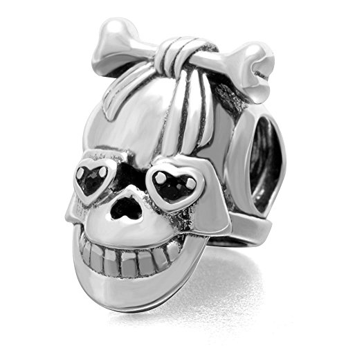 Halloween Skull Charm 925 Sterling Silver Skeleton Beads fit for Fashion Charms Bracelets