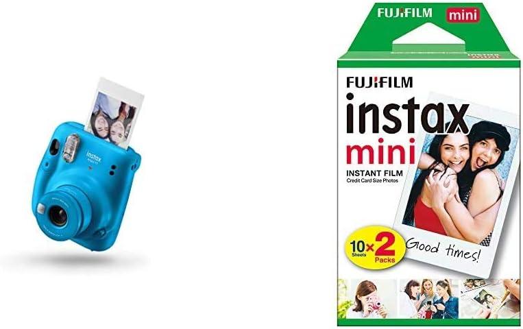Fujifilm instax Mini 11- cámara instantánea- Capri Blue- Exclusivo Amazon + Fujifilm Instax Mini Brillo - Película fotográfica instantánea (2 x 10 Hojas)