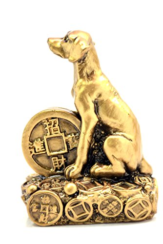2018 Chinese year of dog Horoscope Chinese Zodiac Handmade Resin Dog hold Big Coin Collectible statue Figurine Sculpture (Chinese Horse Stone)