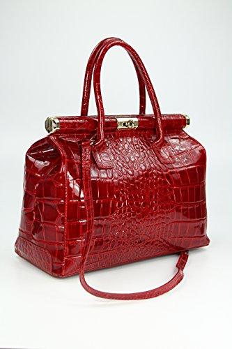 Belli apos quot;The Bag XL in pelle borsa a mano rosso bordeaux di coccodrillo goffrato–34x 25x 16cm (B x H x T)
