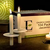 "104 Church Candles with Drip Protectors for Devotional Candlelight Vigil Service, Box of 104 Candles, Unscented White 5""H X 1/2""D, No Smoke by Exquizite"