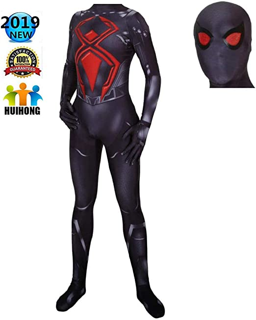 HUIHONG PS4 Spiderman Cosplay Disfraz Negro Batalla Disfraz ...