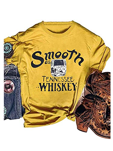 Smooth as Tennessee Whiskey Country Girl Graphic T Shirts Nashville Tee Women Summer Tops Yellow -