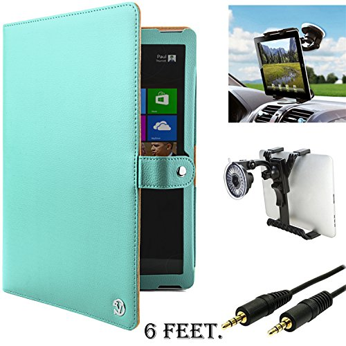 Microsoft Surface Pro 3 Case, PU Leather Portfolio Case, Surface Pro 3 Stand Folio Cover [Lightweight] + Auxiliary Cable + Windshield Car Mount (Surface Pro 3 128gb Intel I5 compare prices)