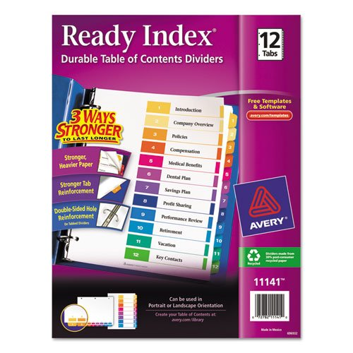 Avery - Ready Index Contemporary Table of Contents Divider, 1-12, Multi, Letter 11141 (DMi ST
