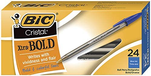 Bic crystal extra bold ,1.6mm blue 24 count