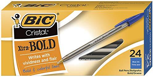 BIC MSBP241-Blu Cristal Xtra Bold Ballpoint Pen, Bold Point (1.6mm), Blue, 24-Count
