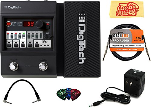 DigiTech Element XP Multi-Effects Pedal Bundle with Power Supply, Instrument Cable, Patch Cable, Picks, and Austin Bazaar Polishing Cloth (Digitech Chromatic Tuner)