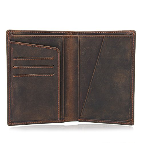 Texbo RFID Blocking Full Grain Cowhide Leather Passport Holder Card Case Travel Wallet (Dark Brown) by Texbo (Image #2)