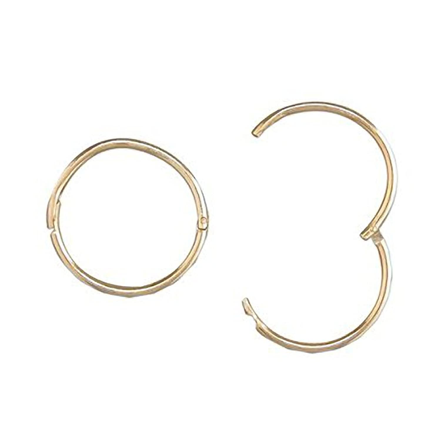 9ct Gold Sleeper 13mm facetted hinged 0sTgPCk1