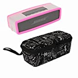 YaPear Hard Case Travel Bag + Soft Cover for Bose Soundlink Mini Bluetooth Portable Wireless Speaker 1 & II (scrawl+Pink)