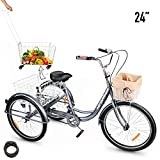 "HIRAM 3-Wheeled Adult Tricycle with Removable Basket, 24"" Wheels Trike for Men and Women, Single Speed Cruise Bike, Exercise Bike for Recreation and Shopping, Water-Proof Bag and Bicycle Bell"