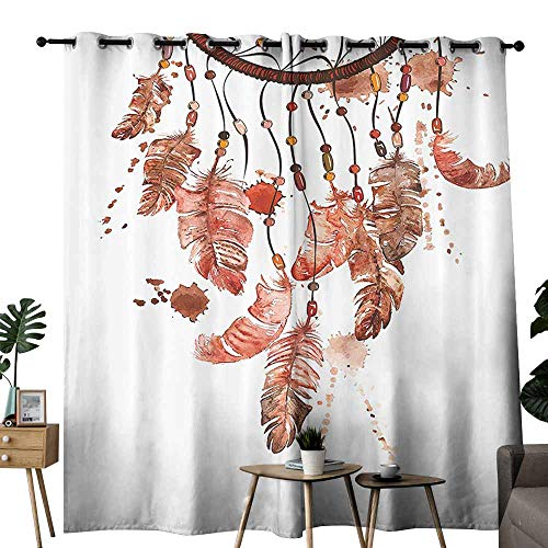 duommhome Tribal Blackout Curtain Hand Drawn Watercolor Design Ethnic Native American Inspired Feathers Art Block Light Protection Privacy W72 xL84 Black Red and Maroon