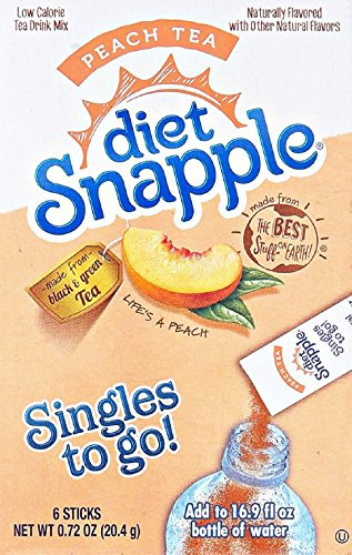 (Diet Snapple Singles to Go Peach Tea (6 Sticks in each box) 4 BOXES)
