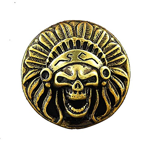 Screw eye Skull American Indian Head Metal Brass Concho Button For Leather (Brass Conchos)