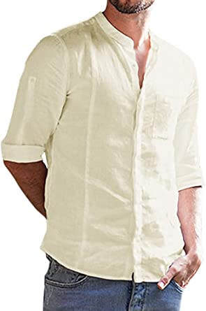 Onsoyours Hombre Retro Casual Lino Cuello En V Camisetas Manga Larga Camisa Color Sólido Moda Blusa: Amazon.es: Ropa y accesorios