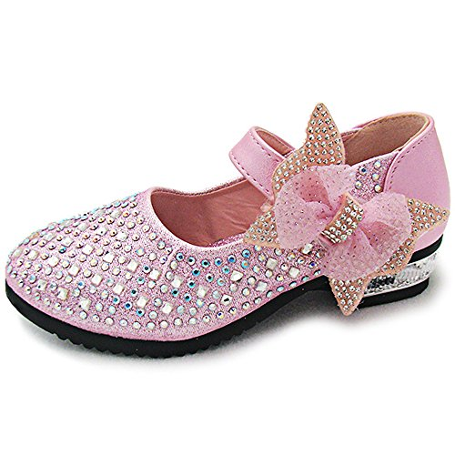 YING LAN Little Big Girl Glitter PU Leather Mary Jane Shoes Pink 27
