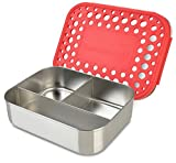 LunchBots Trio Stainless Steel Food Container - Three Section Design Perfect for Healthy Snacks, Sides, or Finger Foods On the Go - Eco-Friendly, Dishwasher Safe and BPA-Free - Red Dots