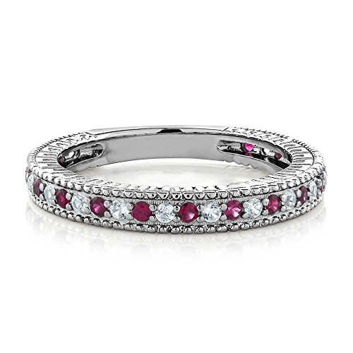 0.48 Ct Red Created Ruby White Created Sapphire 925 Silver Wedding Band Ring (Available in size 5, 6, 7, 8, 9)
