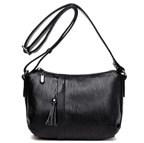 black lavorazione Messenger PU a Soft pelle donna tracolla semplice blue singola Borse in Shopping NVBAO borsa Borsa Bag Fringed da 8qHPBO