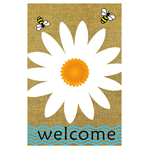 Texupday Daisy Welcome Spring Double Sided Burlap Garden Flag Floral Bees Outdoor Yard Flag 12