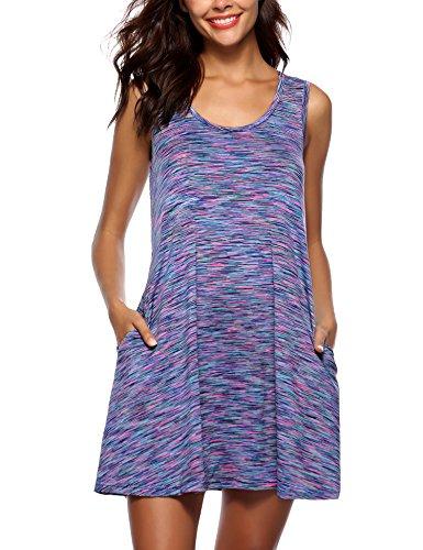 ARANEE Women Summer Beach Cotton Casual Sleeveless Flared Tank Dress (Dress Cool Summer)