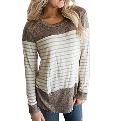IEason Womens Long Sleeve Round Neck T Shirts Color Block Striped Causal Blouses Tops (XS, Brown)