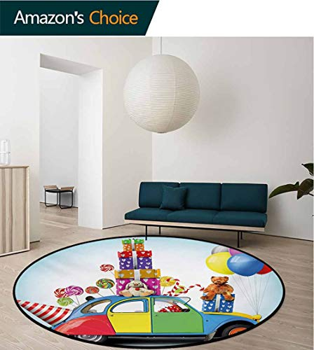(RUGSMAT Birthday Computer Chair Floor Mat,Colorful Car with Presents Toys Holiday Lollipops Party Hat Balloons Celebration Printed Round Carpet for Children Bedroom Play Tent,Round-51 Inch)