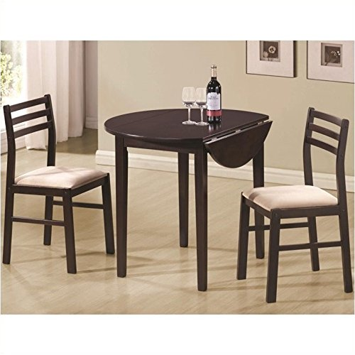 Coaster 3 Piece Dining Set Cappuccino (Kitchen Round Chair)
