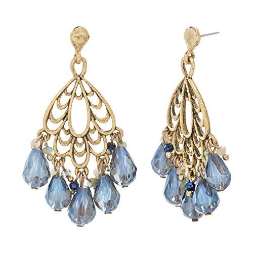 (Catherine Malandrino Blue Dangling Briolette Yellow Gold-Tone Chandelier Earrings for Women )