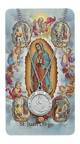 Saint Juan Diego 3/4-inch Pewter Medal Pendant Necklace with Holy Prayer - Medal Diego Juan