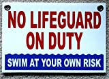 1 Pc Paradisiac Popular No Lifeguard Duty Sign Outdoor Declare Warning Message Swim Board Size 8'' x 12'' with Grommets