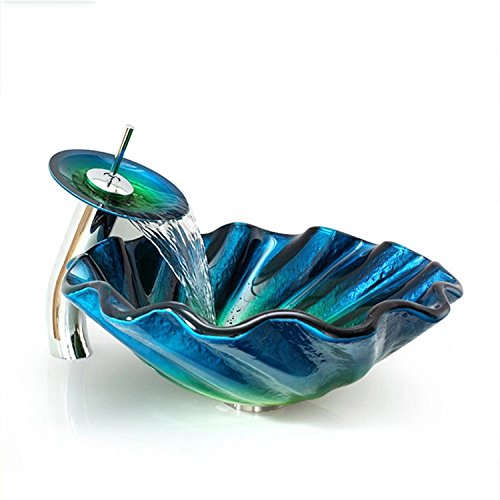 KunMai Blue&Green Seashell Wave Tempered Glass Vessel Sink & Waterfall Faucet Set Chrome