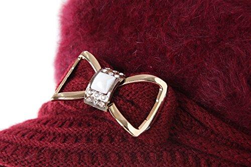 Surblue Lady Crystal Bow Warm Cabled Angora Knit Winter Beanie Crochet Beret Hats Newsboy Caps Photo #2