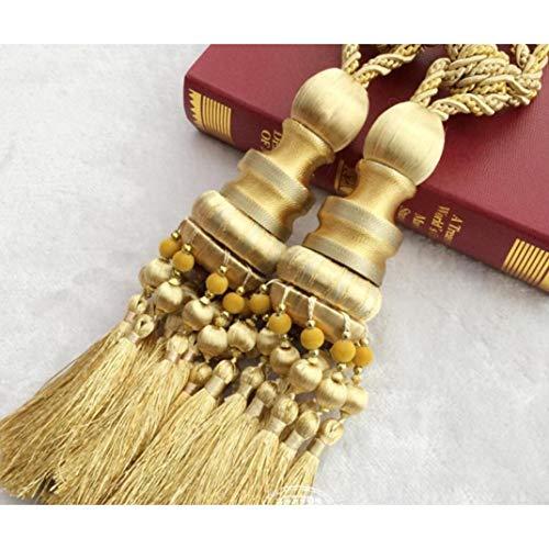 XDH-RTS 2 PCS/Pair Modern Vintage Wooden Beads Hanging Balls Curtain Tassel Tiebacks Tied Ropes Holder Fringe Drapery Buckles