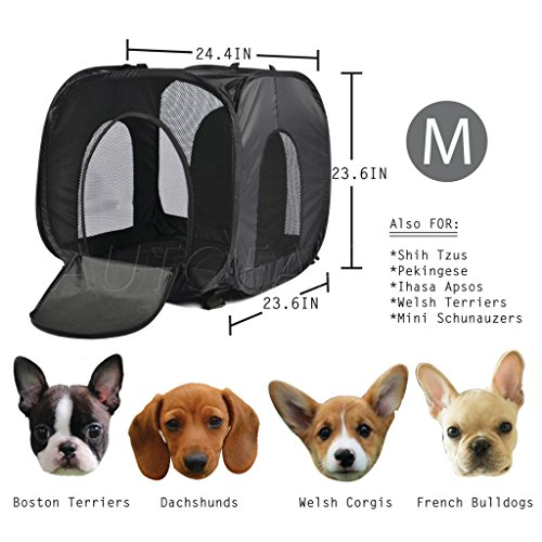 """BDK Portable Port-A-Crate Indoor/Outdoor Pet Home, Premium Quality made of 210D Polyester/PVC M(24.4"""" x 23.6"""" x 23.6"""")"""