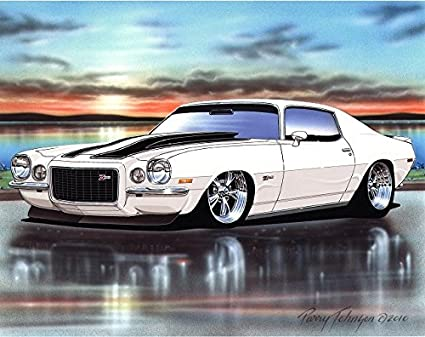 Amazon Com 1970 Chevy Camaro Rs Z28 Muscle Car Art Print White