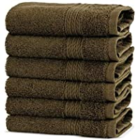 Premium Turkish Cotton 4-Striped Border Eco-Friendly and Long Stable Washcloth (Cocoa, Set of 6)