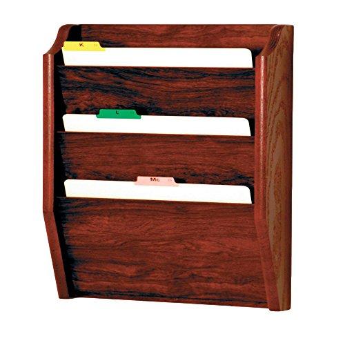 Wooden Mallet 3-Pocket File Holder, Legal Size, - Wall Mahogany Pocket