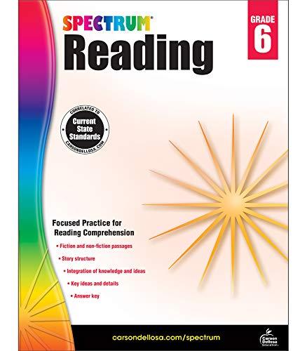 Spectrum Paperback Reading Workbook, Grade 6, Ages 11-12