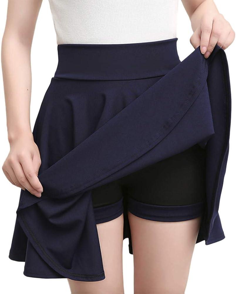 QinMMROPA Falda Corta de Las Mujeres de Cintura Alta Mini Falda ...