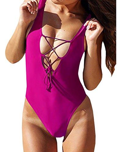Zero City Women's One Piece Swimsuits Monokini Lace-up U Back Bathing Suit (XL, Rosy)