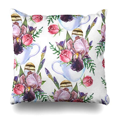 (HomeOutlet Throw Pillow Cover Fancy Watercolor Pattern Floral Iris Flower Buds Rose Cappuccino Feather Leaf in White Cup Nature Pillowcase Square Size 20 x 20 Inches Home Decor Sofa Cushion Case)